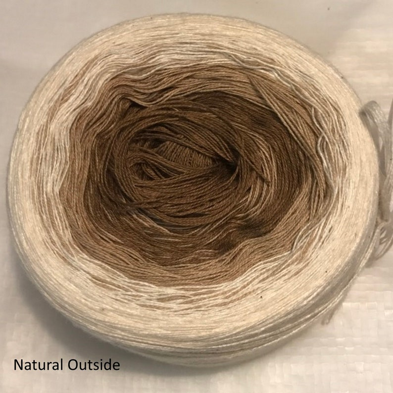 GT 3-stranded light fingering gradient tied cotton 100g Sand image 0