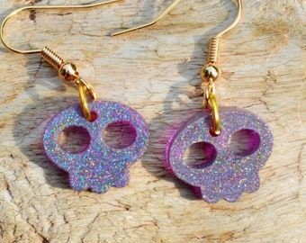 Purple Holographic Skull Earrings ~  Sparkly Earrings ~ Hologram Earrings