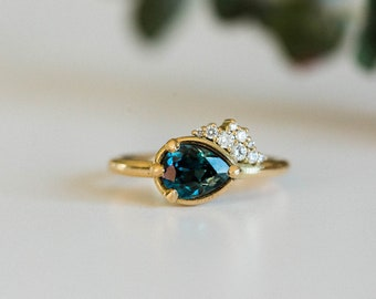 Pear cut teal sapphire ring with Canadian diamonds, women's solid gold engagement ring, 18k yellow gold-etsy design award finalist