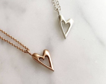Tiny heart pendant necklace in silver or 10k rose gold valentines gift
