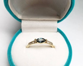 Delicate marquise cut London blue topaz ring with white sapphires in gold -10k-14k -18k
