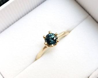 Montana sapphire ring, six prong set women's solid gold engagement ring, yellow rose or white gold 10k 14k 18k