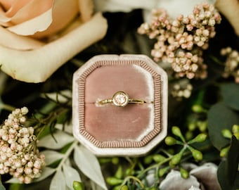 Morganite engagement ring bezel set in 10k-14k-18k yellow gold, white gold, rose gold