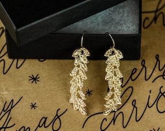 Vine lace earrings 14k gold plated , Gift for her, vine dangle earrings