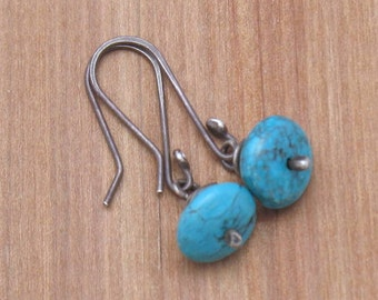 Little Turquoise Beads on Oxidized Sterling Silver Dangle Earrings