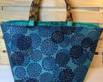 Hand Crafted Handbag Purse ~ Vintage corduroy in teal turquoise blue ~ faux tortoise shell handles fully lined 2 interior pockets med size