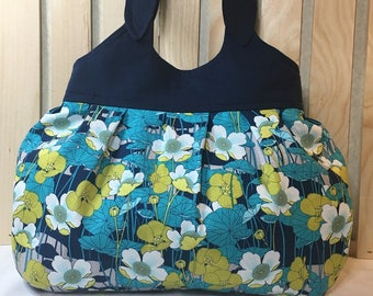 Hand Crafted Handbag Purse ~ Sweet little bag in Navy Blue Turquoise n Lime fun mix of colors fully lined mag snap closure pocket