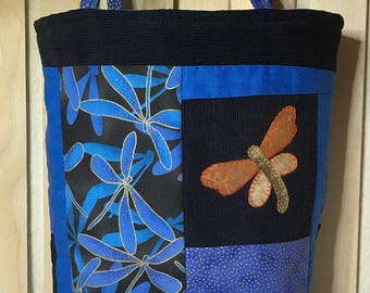 Hand Crafted Handbag Purse ~ Dragonfly medley in summertime BLUES Corduroy Silk & Metallic fabric in all shades of blue Fully Lined w pocket