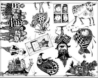 Art stamp plate Steampunk Rubber Stamp tateam EUC team flowers birds animals elephant stamps 883
