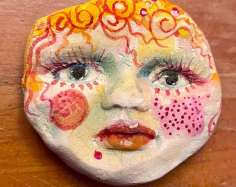 ceramic clay face doll parts partial 2 x 2 1/4 inch  craft  woman handmade woman mask doll parts head mask goddess  fragment