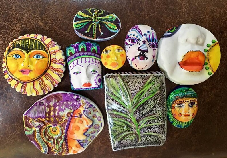 Handmade clay face oval mask Buddha spirit dolls doll parts head head  jewelry craft supplies  handmade clown cabochon  face   polymer