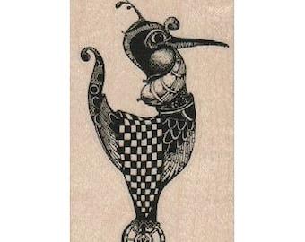 Wood mounted rubber stamp Steampunk bird steampunk zentangle art stamps original design by Mary Vogel Lozinak no 18835