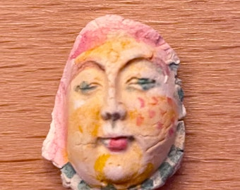 Small ceramic clay face doll parts partial 5/8 x 7/8  inch  craft  woman handmade woman mask doll parts head mask goddess  fragment tiny