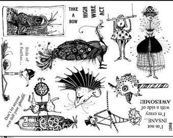 Art stamp plate Steampunk Rubber Stamp tateam EUC team owl rooster sun