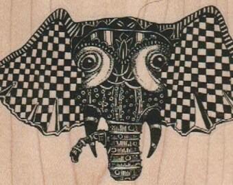 Elephant head zentangle Steampunk Rubber Stamp  designed by Mary Vogel Lozinak no 18838