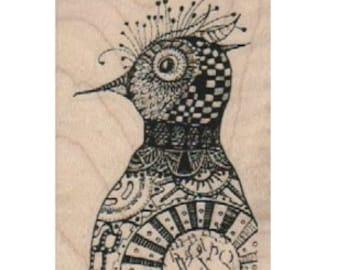 bird head zentangle Steampunk Rubber Stamp  designed by Mary Vogel Lozinak no 18363