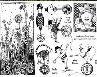 Art stamp plate Steampunk Rubber Stamp tateam EUC team flowers birds animals elephant stamps