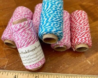 Blue  Bakers Twine - Small Roll - blue/White - 105 feet   small spool  pink white thread string  cotton spool cord