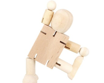 Robot wooden Doll body blank   art doll parts doll making easy doll blank posable wood and wire. will stand
