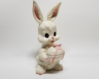 Trinket Box Easter Bunny Spring Rabbit Ceramic Decorated Egg Jewelry Storage White Pink Figurine