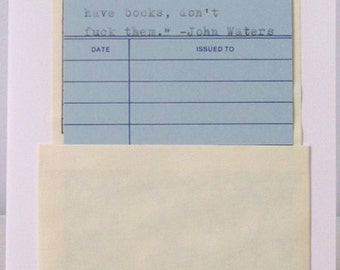 library quotes notecard