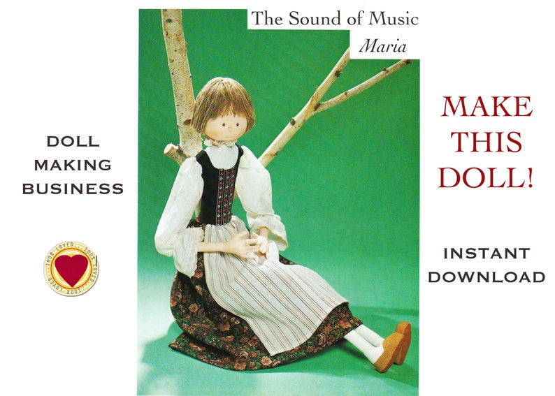 Maria from 'The Sound of Music' PDF Cloth Doll Pattern - Instant download  to Make & Sell