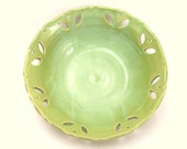 ON SALE Carved Pottery Bowl in French Country Green