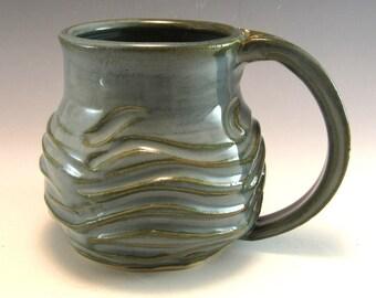 Hand Made Pottery Wave Mug/Ocean Pottery Coffee Mug/Cup  Holds 12 Ounces