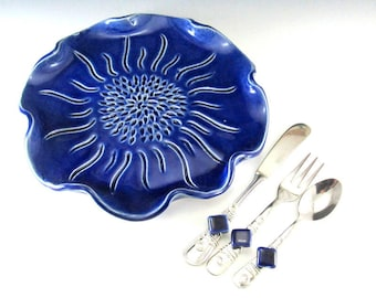 Serving Tray/Cheese Platter/Party Platter with Beaded Knife , Fork, and Spoon