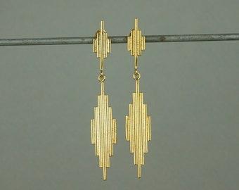 Gold Geometric Art Deco Dangle Earrings. Long Elegant Drop Earrings. Goddess Venus Jewellery