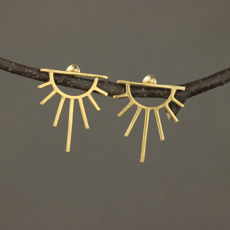 Gold Art Deco Earrings. Sun Earrings. You Are My Sunshine. image 0