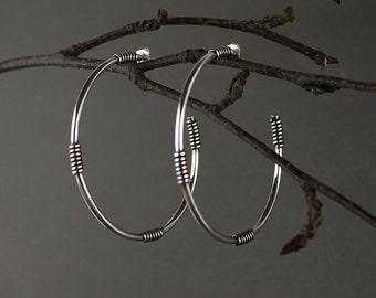 Large Sterling Silver Hoops. Big Silver Earrings. Tribal Earrings. Gypsy Earrings.  Bohemian Jewelry. Tribal Jewellery. Contemporary Jewelry