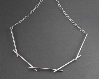 Sterling Silver Choker Necklace. Statement Necklace. Crown of Thorns. Silver Necklace. Modernist Necklace. BDSM Collar. Statement Choker.