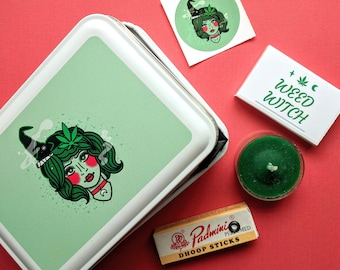 Weed Witch Tin Kit w/ candle, incense, sticker, & matches