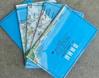 Slim Wallet- Vintage Hawaii Islands Map- Choose 1