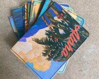 Slim Wallet- Hawaiian Tiki Bar, Surf Art Postcards- Choose 1