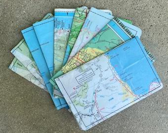 Slim Wallet- Vintage Maui, Hawaii Map- Choose 1