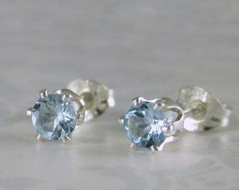 Sky blue topaz earrings, topaz jewelry, blue topaz stud earrings, topaz jewelry, blue gemstone studs, genuine sky blue topaz earrings