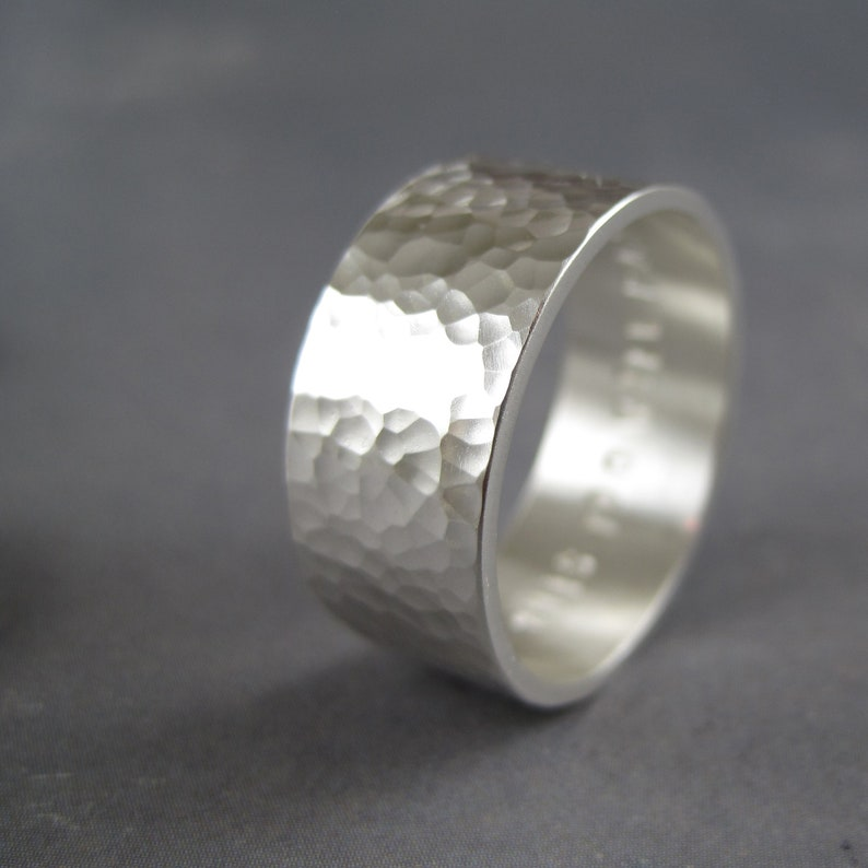 8mm wide Sterling silver personalized ring