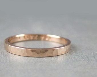 Personalized rose gold ring, solid 14k rose gold, promise ring, Hammered rose gold ring, 2mm custom engraved rose gold band