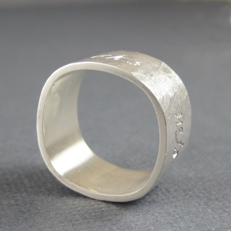 gift for him mens silver ring Square ring hammered silver Wide silver band rustic sterling silver custom jewelry custom engraving