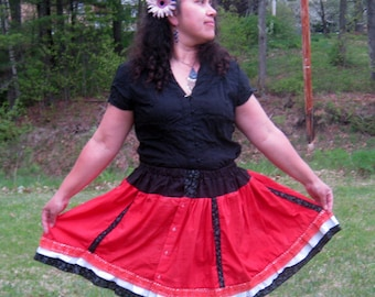 Repurposed Men's Shirt Red Skirt Hand Dyed Gothic Lolita Skirt OOak-Adjustable Waist 20-30 inches-Gift