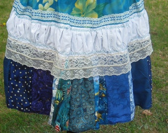 Lolita Lace Shirred Patchwork Skirt Boho Skirt Blue  Skirt OOak-Elastic Waist up to 30 Inches-Gift