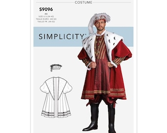 Simplicity 9096 Ren Faire Henry the 8th Cosplay ,Includes Hat Size 34-42