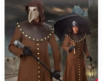 Simplicity Pattern 9253 Plague Doctor Costume Includes Pattern for Mask Unisex Size XS-XL