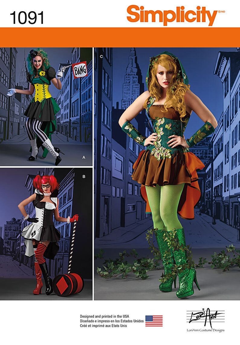 Simplicity Pattern 1091-Harley Quinn Poison Ivy and Joker  e468855633