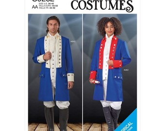 Simplicity Pattern 9252 Unisex Embellished Jacket, Pull-On Pants, &  Vest Military Uniform 17th 18th Cosplay Size 34-42
