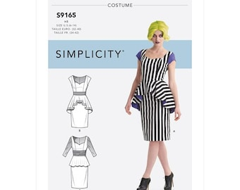 Simplicity Pattern 9165-Steampunk Gothic-Female Beetlejuice, Witch Costume Dress  Cosplay-Size 6-14