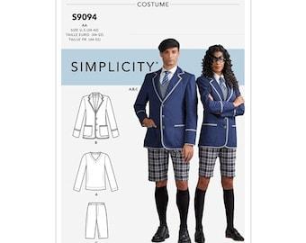 Simplicity Pattern 9094 Umbrella Academy Uniform Misses', Men's & Teens' Costume Size 34-42