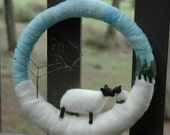 Winter Pastoral Sheep Wreath - Holiday Home Decor